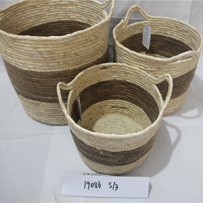 Basket with handles woven storage basket wooden box
