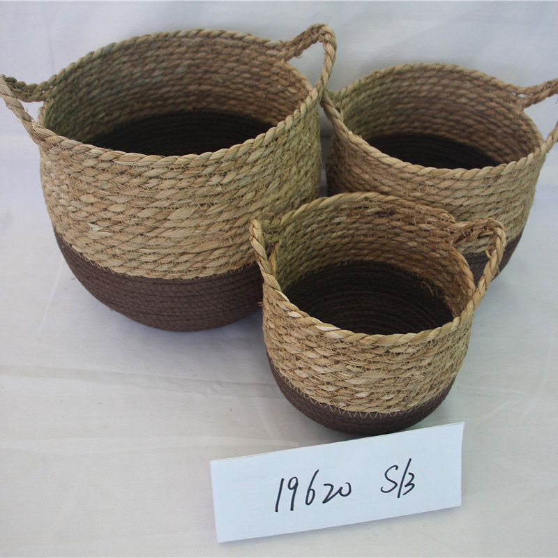 Seaweed woven paper rope multifunctional kitchen baskets rack for storage