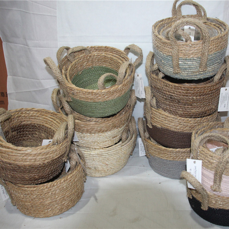 House ware orgazinal natural straw drawstring basket bag