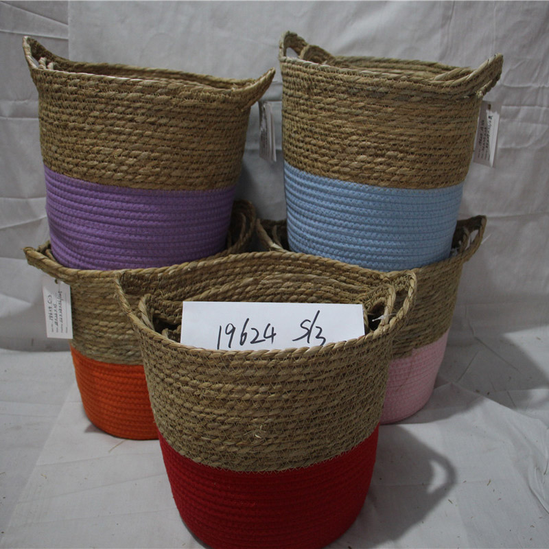 Handmade Straw Storage Box Seagrass Basket Rattan Fruit Container Makeup Organizer Woven Storage Baskets
