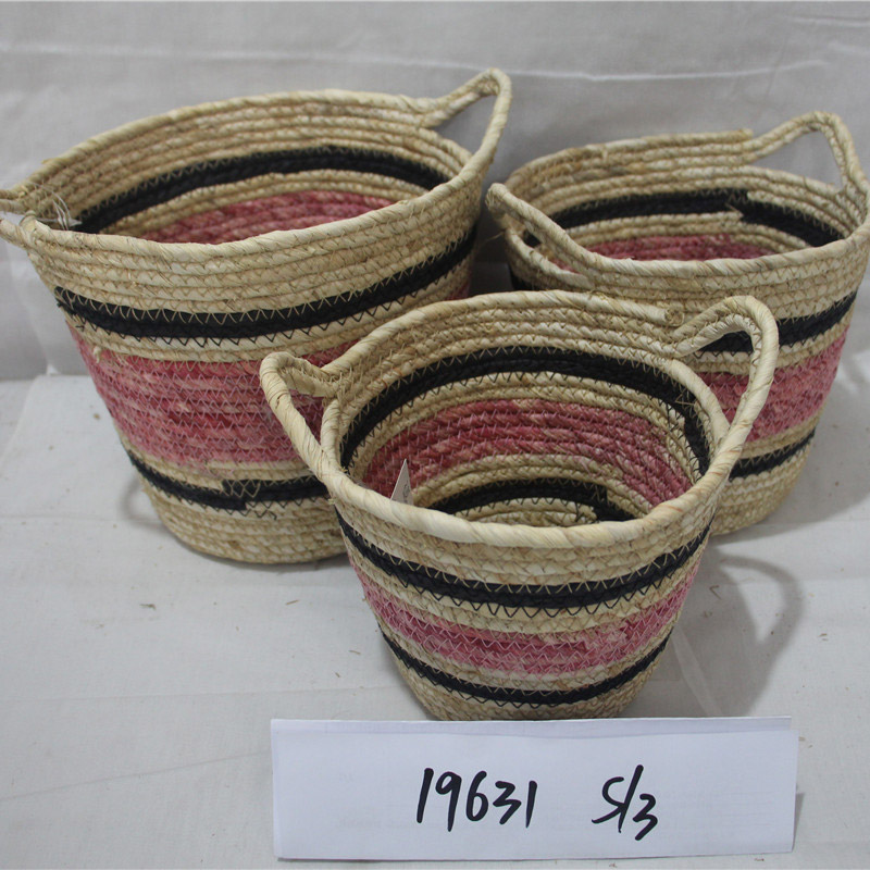 Dirty Laundry Planter Basket Storage Seaweed Box Simple Decoration Foldable Container Straw Handmade Bamboo Organizer