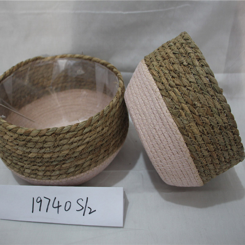 Wholesale custom home decor white woven cotton rope storage basket
